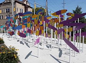 Colorful Convergent Focus sculpture