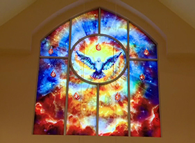 Learn how NASA's Johnson Space Center inspired the stained glass windows in a Houston church