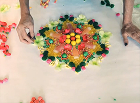 makes one-of-a-kind mandalas out of candy